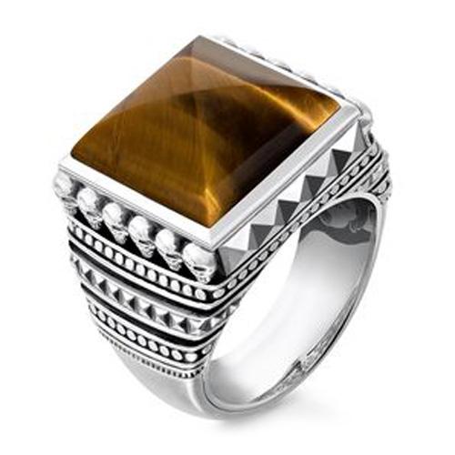 """Prsten """"Etnické lebky hnědý"""" Thomas Sabo TR2158-826-2-62, Sterling Silver, 925 Sterling silver, black"""