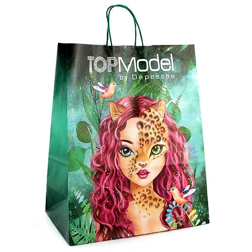 Papírová taška Top Model ASST Leopardka/Tygřice, barva zelená/modrá