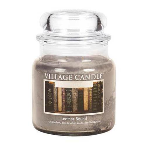 Svíčka ve skleněné dóze Village Candle Kožený obal, 454 g