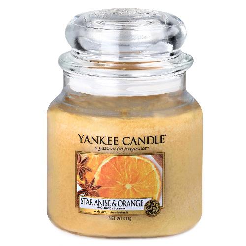 Svíčka ve skleněné dóze Yankee Candle Anýz a pomeranč, 410 g