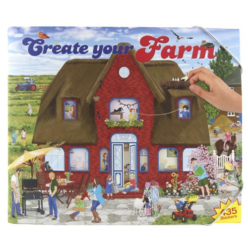 Kreativní sešit Create Your Farm, červený domek, 435 samolepek