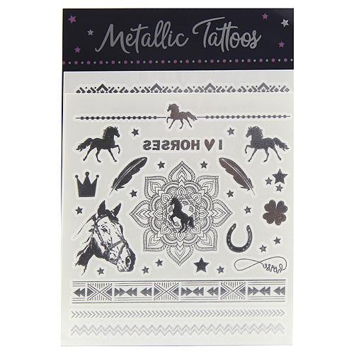 Metalické tetování Horses Dreams Různé motivy, 2 archy