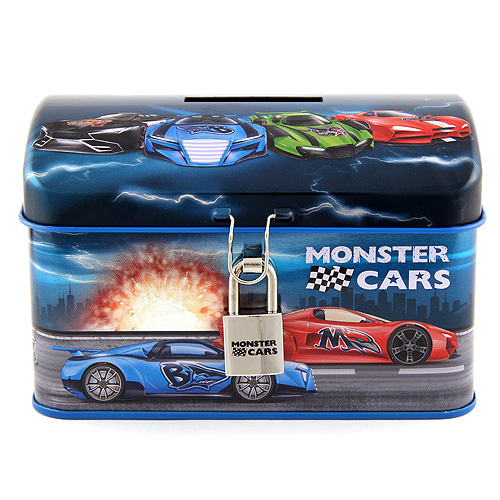 Plechová pokladnička Monster Cars Modrá s auty, se zámkem