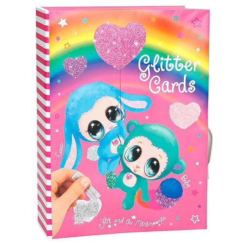 Sada pro tvorbu pohlednic Ylvi and the Minimoomis 6 barev třpytek na posypání, 8 karet