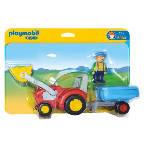 Traktor s přívěsem Playmobil 1.2.3, 3 ks