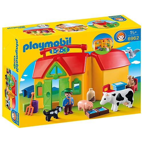 Moje první přenosná farma Playmobil 1.2.3, 17 ks