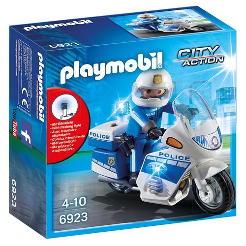 Motohlídka s LED majáky Playmobil Policie, 8 dílků
