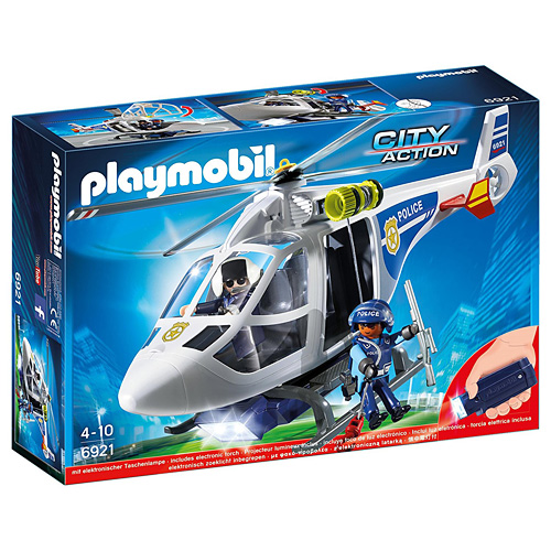 Policejní helikoptéra s LED světlometem Playmobil Policie, 17 dílků