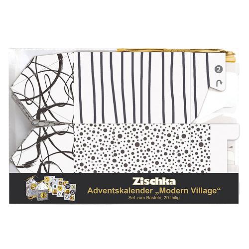 Set Adventní kalendář Zischka 29-dílný, černo-zlato-bílý