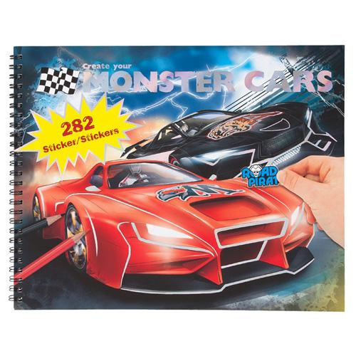 Omalovánky, kreativní sada Monster Cars Červené a černé závodní auto, 282 samolepek