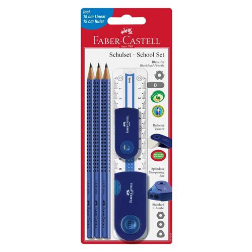 Psací set Faber-Castell 6 ks, 3 x tužka, pravítko, guma, ořezávátko