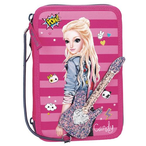 Penál s výbavou Top Model Candy s kytarou, třípatrový, růžový
