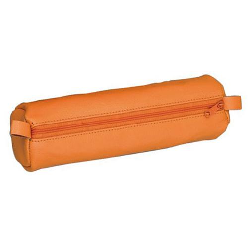 Školní penál Alassio Kulatý, kožený, oranžový