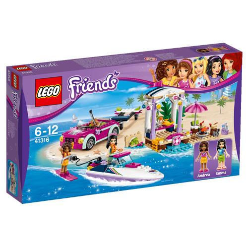 Stavebnice LEGO Friends Andrein vůz s přívěsem pro člun, 309 dílků