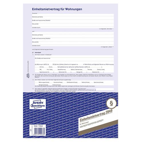 Nájemní smlouva DE Avery Zweckform 2849 pro pronájem bytů, A4, 4 stranná