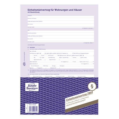 Nájemní smlouva DE Avery Zweckform 2850 pro pronájem bytů a domů, A4, 6 stranná