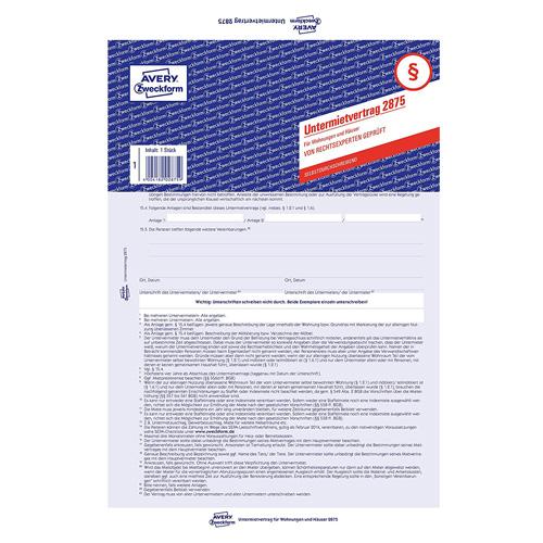 Nájemní smlouva DE Avery Zweckform 2875 pro pronájem bytů a domů, A4, 5 stranná