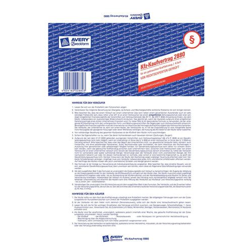 Smlouva o koupi DE Avery Zweckform 2880 automobilu, A4, 2 stranná