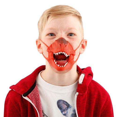 Maska na obličej Dino World ASST Tyrannosaurus Rex, silikonová, červená