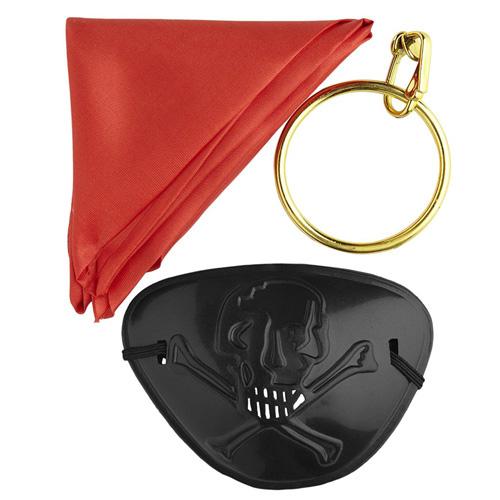 Pirátský set Widmann 3 ks - šátek, klapka na oko, náušnice
