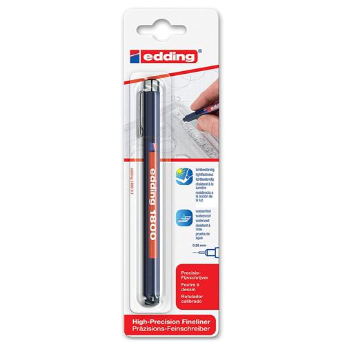 Rýsovací pero Edding 1800, 0.25 mm, černé