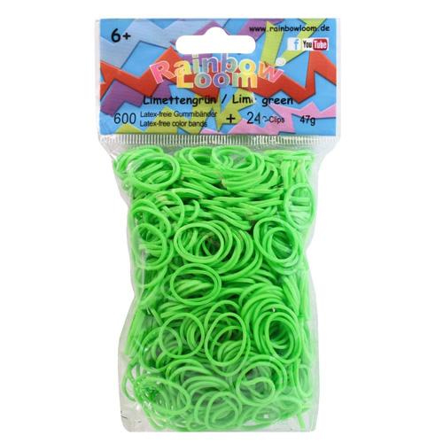 Gumičky na náramky Rainbow Loom 600 ks, 24 ks C-klipů, zelená
