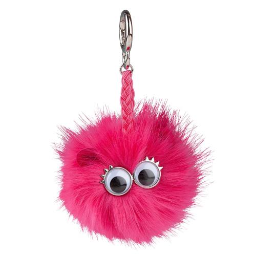 Klíčenka Top model Střapatá koule s očima, růžová