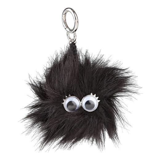 Klíčenka Top model Střapatá koule s očima, černá