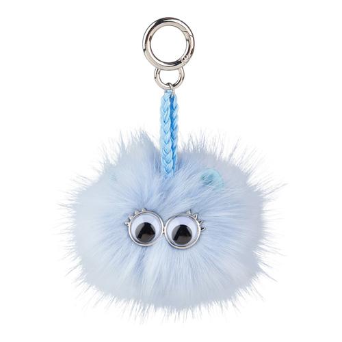 Klíčenka Top model Střapatá koule s očima, světle modrá