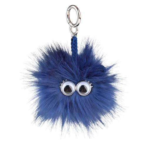 Klíčenka Top model Střapatá koule s očima, tmavě modrá