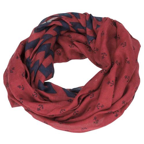 Šátek Top Model Tmavě červený se vzory kotvy