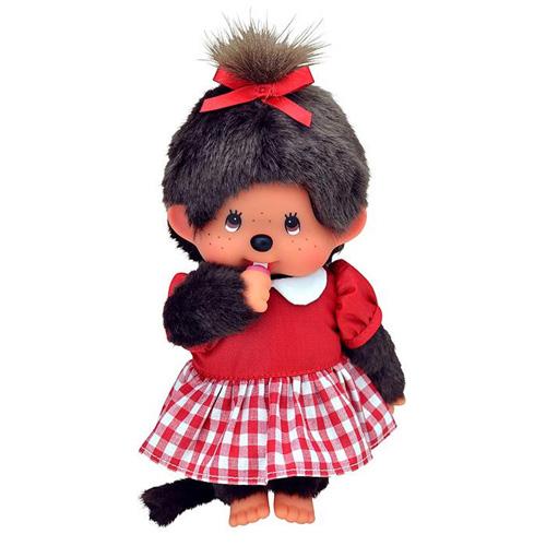 Plyš Monchhichi Holka, červené šaty, 20 cm