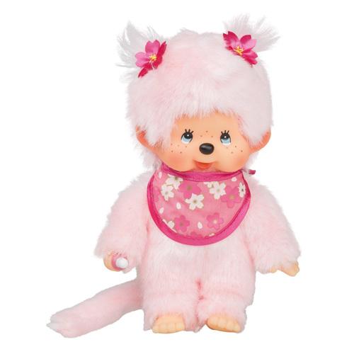 Plyš Monchhichi Holka, růžový bryndák, 20 cm