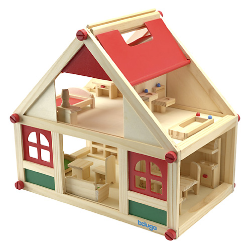 Domeček s nábytkem Beluga Pro panenky, dřevěný