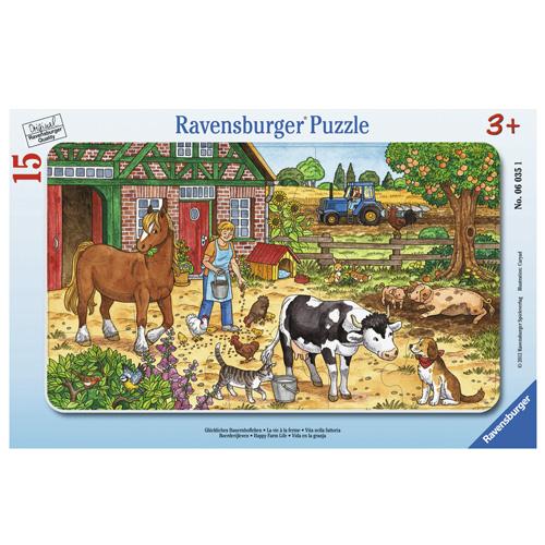 Rámové puzzle Ravensburger Šťastný život na statku, 15 dílků