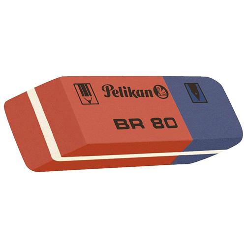 Kombinovaná pryž Pelikan BR 80, na grafitové tužky a inkoust, červeno-modrá