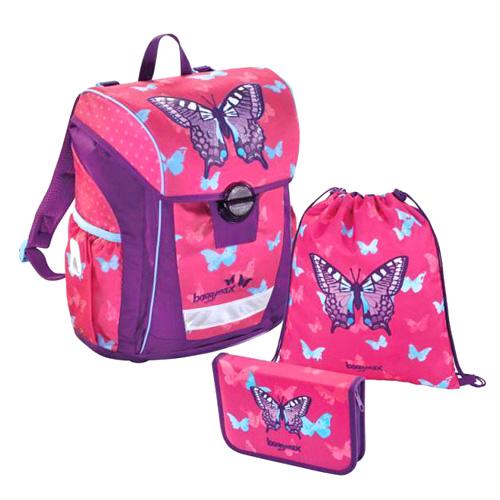 Školní set Baggymax 3-dílný - Motýl, růžový