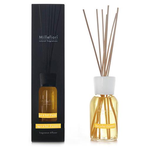 Skleněný difuzér Millefiori Milano Natural, 500ml/Dřevo a pomerančové květy