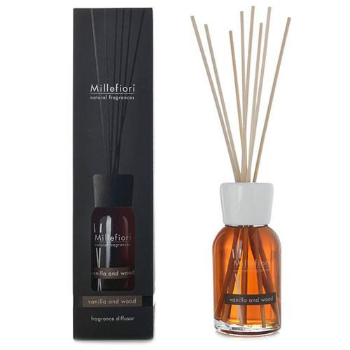 Skleněný difuzér Millefiori Milano Natural, 100ml/Vanilka a dřevo