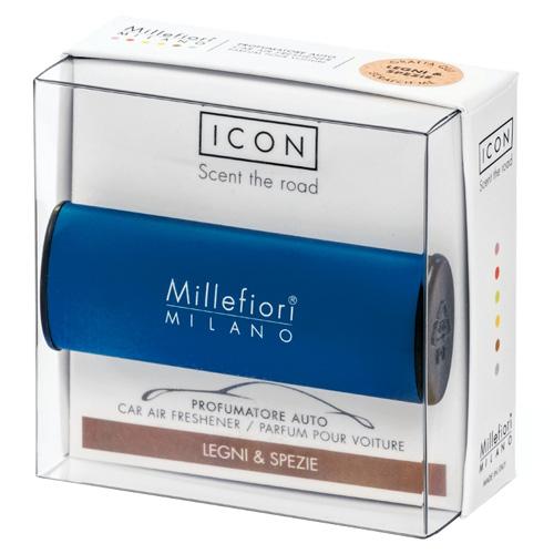 Vůně do auta Millefiori Milano Icon, Classic/Dřevo a koření, modrá