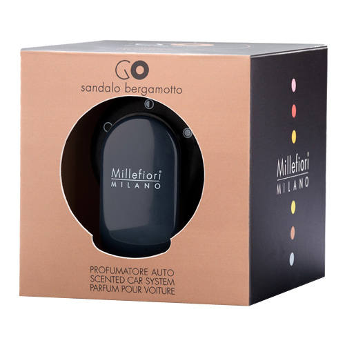 Vůně do auta Millefiori Milano Go, černá/Santalové dřevo a bergamot