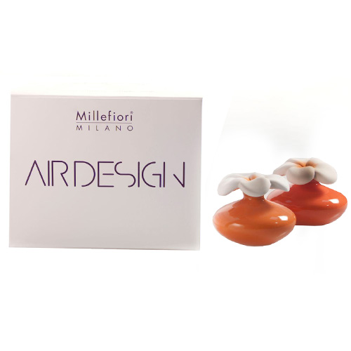 Keramický difuzér Millefiori Milano Air Design, květina mini, 2 ks, oranžový