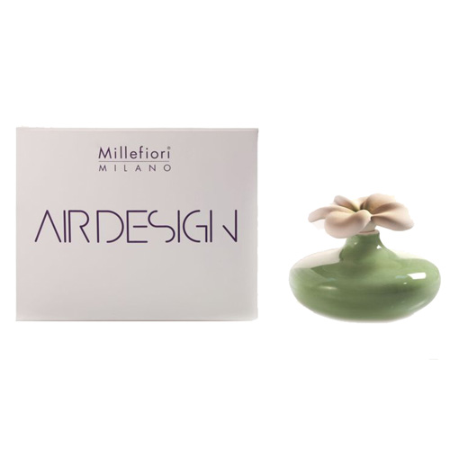 Keramický difuzér Millefiori Milano Air Design, květina malá, zelený