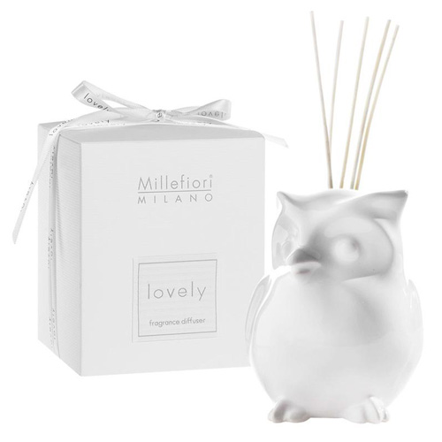 Keramický difuzér Millefiori Milano Lovely, sova, 5 tyčinek, bílý