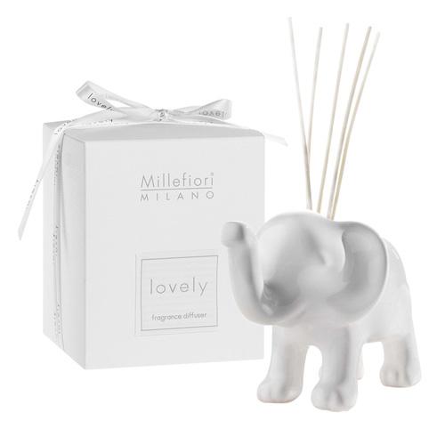 Keramický difuzér Millefiori Milano Lovely, slon, 5 tyčinek, bílý