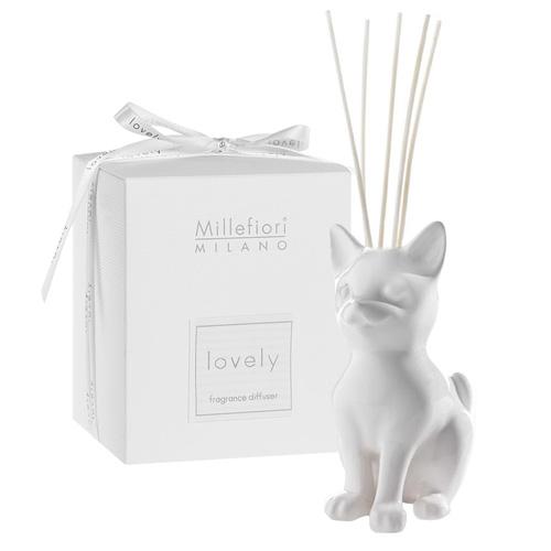 Keramický difuzér Millefiori Milano Lovely, kočka, 5 tyčinek, bílý