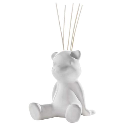 Keramický difuzér Millefiori Milano Lovely, medvěd, 5 tyčinek, bílý