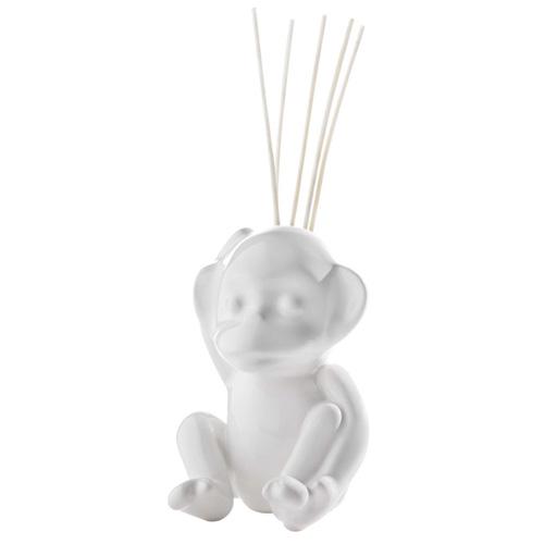 Keramický difuzér Millefiori Milano Lovely, opice, 5 tyčinek, bílý