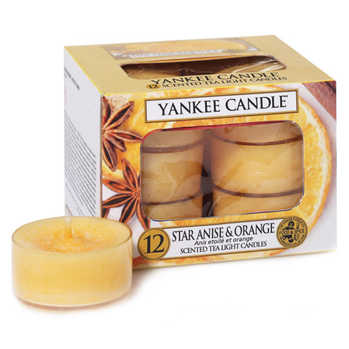 Svíčky čajové Yankee Candle Anýz a pomeranč, 12 ks
