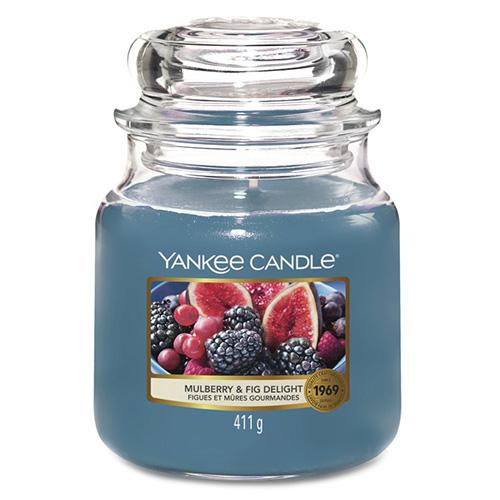 Svíčka ve skleněné dóze Yankee Candle Lahodné moruše a fíky, 410 g